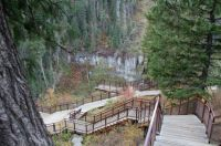 Upper Mesa Falls Boardwalk down to the falls area and river