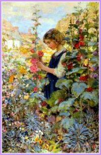 Girl among the Hollyhocks