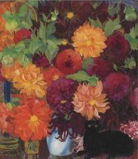 Boris Anisfeld - Still Life with Flowers and a black cat, 1923