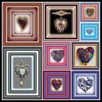 Colorful Heart Shaped Brooches