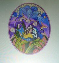 Colorful Irises with Bird. . . . .