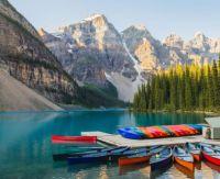 Canoes on a mountain lake