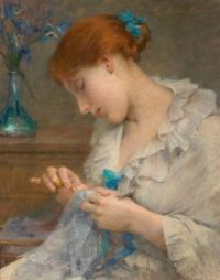 """Girl Sewing With Irises In A Vase"""
