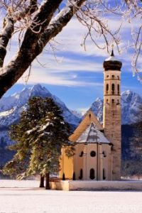 Winter morning at St. Coloman Church in Bavaria Germany...