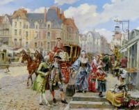 Henry Victor Lesur - A Paris street in the time of Louis XIV