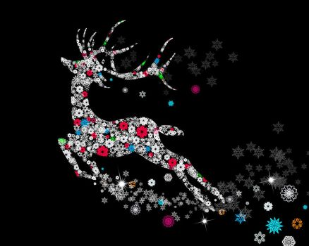 Reindeer design by snowflakes