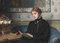 Portrait of a reading Young Woman, Bertha Wegmann. Danish (1847 - 1926)