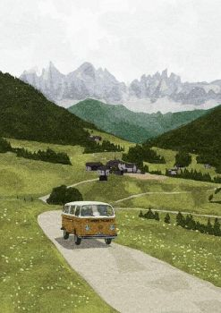 Volkswagen van in mountain landscape