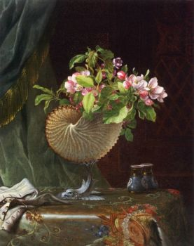 Victorian Still Life with Apple Blossoms by Martin Johnson Heade