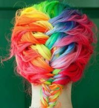 Now that's some colorful hair.