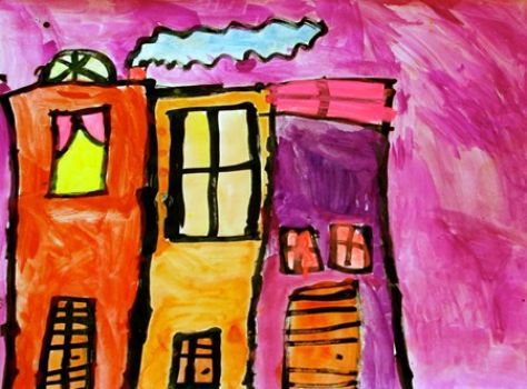 """""""Street Scene"""" painted by my 7 yr old granddaughter"""