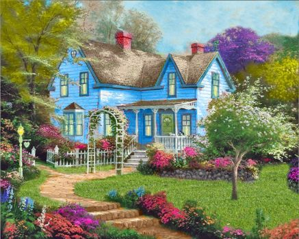 Cheerful House and Pretty Flowers