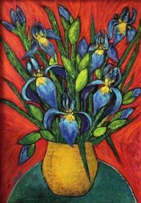 IRIS BOUQUET IN YELLOW VASE - Artist, Jean Fassina