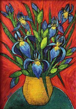 IRIS BOUQUET IN YELLOW VASE - Artist, Jean Fassina