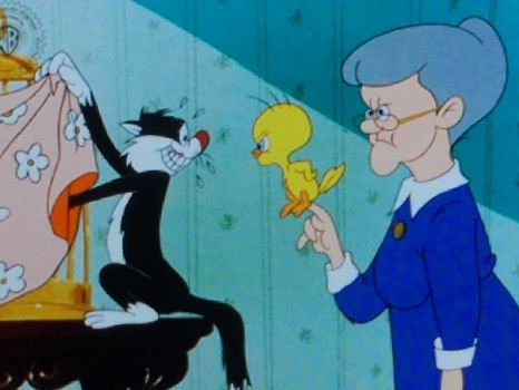 sylvester is, in trouble now say's tweety bird.