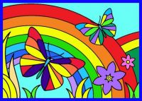 Rainbow, butterflies and flowers