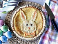 Coconut Chocolate Chip Custard Easter Bunny Pie, recipe link included