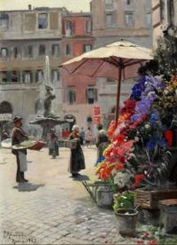 "Peder Mørk Mønsted, ""View from the Piazza Barberini in Rome"", 1928"