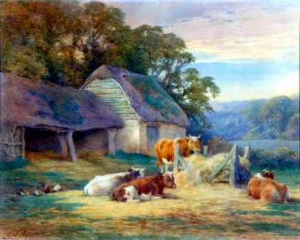 A Surrey Farm by Charles James Adams (1859-1931)