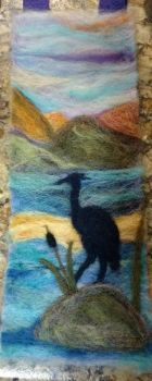 Felted heron
