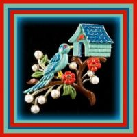 Theme Birds & Birdhouses - Found Both in a Vintage Brooch