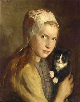 Girl with Cat by Hendrik Maarten Krabbe